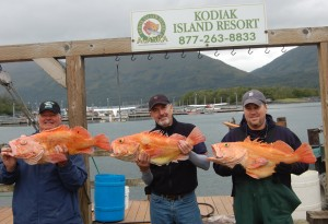 Bob Arnold, Bob Holl and Justin Rogers show off three trophy size yelloweye rockfish!!!